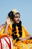 girl dressed as Rukmini, wife of Lord Krishna,India stock photography