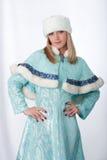 Girl dressed as Russian Santa Claus Stock Image