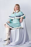 Girl dressed as Russian Santa Claus Stock Photos