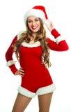 Girl dressed as Santa Stock Photos