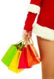 Girl dressed as Santa Stock Photo