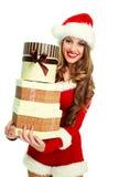 Girl dressed as Santa Royalty Free Stock Photos