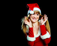 Girl dressed as Santa Stock Image