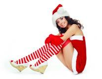 Girl dressed as Santa Stock Image