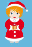 Girl dressed as Santa. Red-haired girl dressed as Santa with a gift in the hands Stock Image