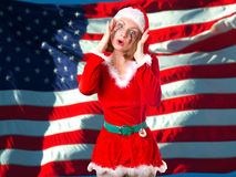 Girl dressed as Santa Claus Royalty Free Stock Images
