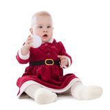 Girl dressed as Santa, insulation Royalty Free Stock Image