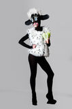 A girl dressed as a sheep. The unusual costume and body painting Royalty Free Stock Image