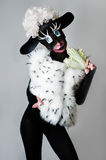 A girl dressed as a sheep. The unusual costume and body painting Royalty Free Stock Photos