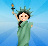 Girl dressed as the Statue of Liberty Stock Photos
