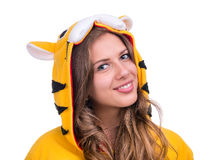 Girl dressed as a tiger with copyspace Royalty Free Stock Images