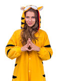Girl dressed as a tiger with copyspace Stock Photos