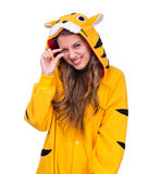 Girl dressed as a tiger with copyspace Stock Image