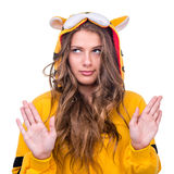 Girl dressed as a tiger with copyspace Stock Photography