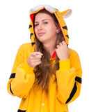 Girl dressed as a tiger with copyspace Royalty Free Stock Photo