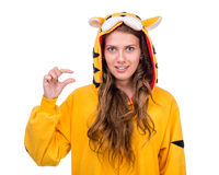 Girl dressed as a tiger with copyspace Royalty Free Stock Image
