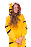 Girl dressed as a tiger with copyspace Stock Images