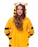 Girl dressed as a tiger with copyspace Royalty Free Stock Photography