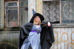 Girl dressed as a witch Royalty Free Stock Image