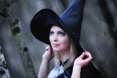 Girl dressed as a witch Stock Image