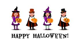 A girl dressed as a witch and a boy dressed as a vampire stand with pumpkins in their hands. stock illustration