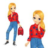 Girl In Red Sweater With Blue Pompoms. Girl dressed in blue jeans and red sweater with blue pompoms Royalty Free Stock Photos