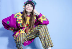 The girl, dressed buffoon. Girl in Russian national costume jester stock photos