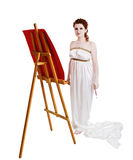 Girl dressed in greek costume painting on white Stock Photos