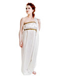 Girl dressed in greek costume on white Stock Image