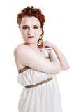 Girl dressed in greek costume on white Stock Photo
