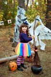 Girl dressed for Halloween. Little girl dressed for Halloween royalty free stock image