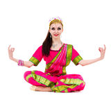Girl dressed in Indian costume with yoga pose Stock Photography