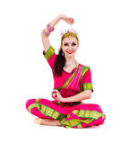 Girl dressed in Indian costume with yoga pose Royalty Free Stock Photo