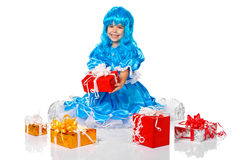 Girl dressed like Malvina, doll with the blue hair Royalty Free Stock Images