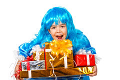 Girl dressed like Malvina with many gift boxes Stock Photos