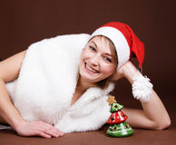 Girl dressed like Santa Royalty Free Stock Photography
