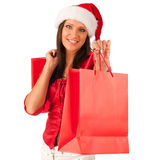 Girl dressed like Santa in shopping Royalty Free Stock Photography