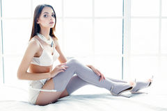 Girl dressed in  lingerie Stock Photo
