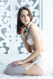 Girl dressed in  lingerie Royalty Free Stock Photo