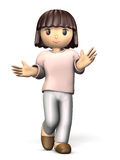 Girl dressed in pajamas is standing. Computer generated image Royalty Free Stock Photography
