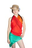 Girl dressed in pareo Stock Photo