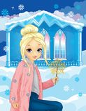 Girl In Pink Fur Near Winter House. Girl dressed in pink fur coat and blue jeans holds a sparkler on the background of the winter house stock illustration