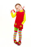 Girl dressed in red and yellow 2 Stock Image