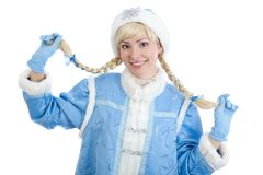 Girl dressed in russian christmas costume. Smiling girl dressed in traditional russian christmas costume of Snegurochka (Snow Maiden), isolated on white royalty free stock photos