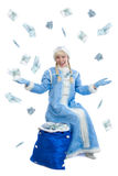 Girl dressed in russian christmas costume. Smiling girl dressed in traditional russian christmas costume of Snegurochka (Snow Maiden) with bag of money,  on Stock Images