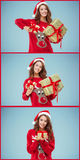 Girl dressed in santa hat with a Christmas gifts Stock Image