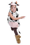 Girl dressed in a sheep costume. Little girl dressed in a costume of sheep is running shot in a studio on white background Royalty Free Stock Photos