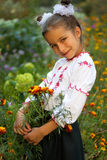 Girl dressed in Ukrainian folk costume Stock Photos