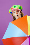 Girl dressed up as a clown Stock Images