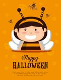 Girl dressed up as a little bee. Vector illustration design royalty free illustration